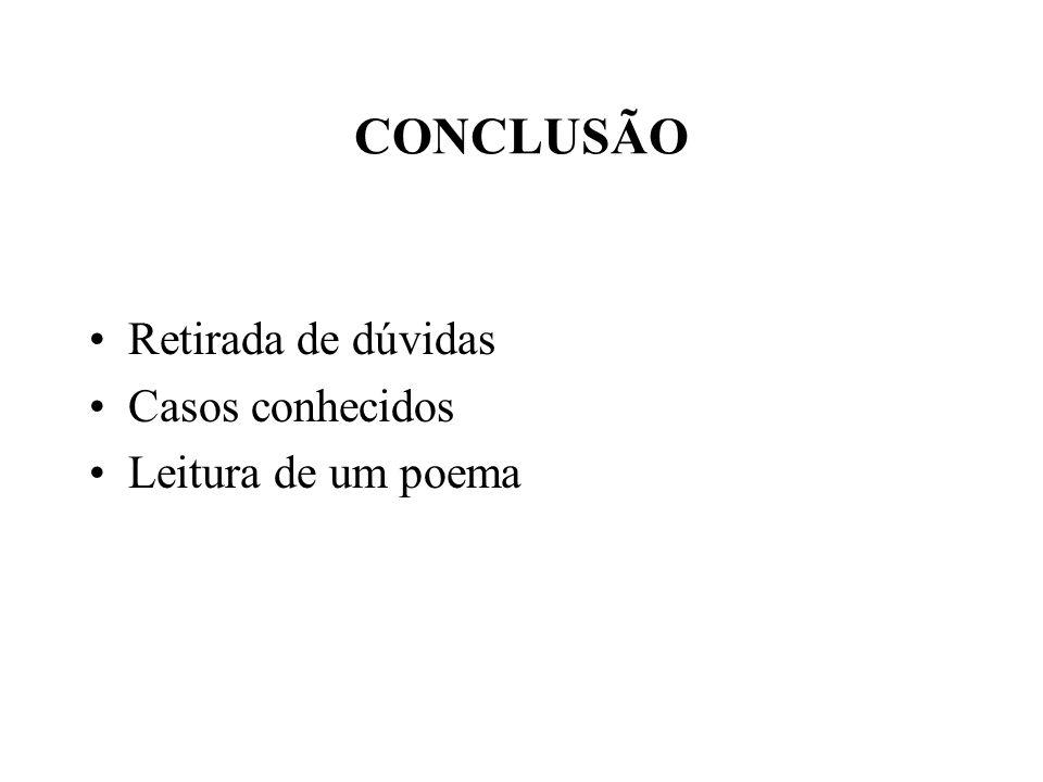 CONCLUSÃO Retirada de dúvidas Casos conhecidos Leitura de um poema