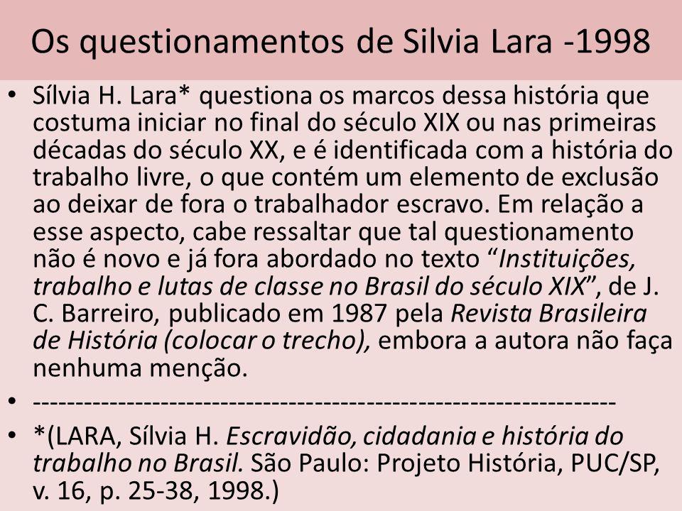 Os questionamentos de Silvia Lara -1998