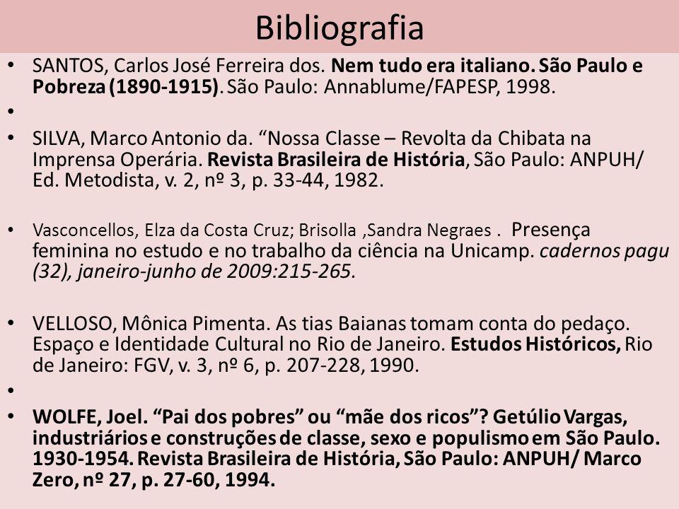 Bibliografia SANTOS, Carlos José Ferreira dos. Nem tudo era italiano. São Paulo e Pobreza (1890-1915). São Paulo: Annablume/FAPESP, 1998.
