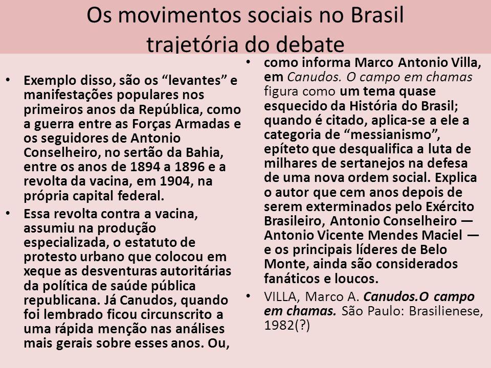 Os movimentos sociais no Brasil trajetória do debate