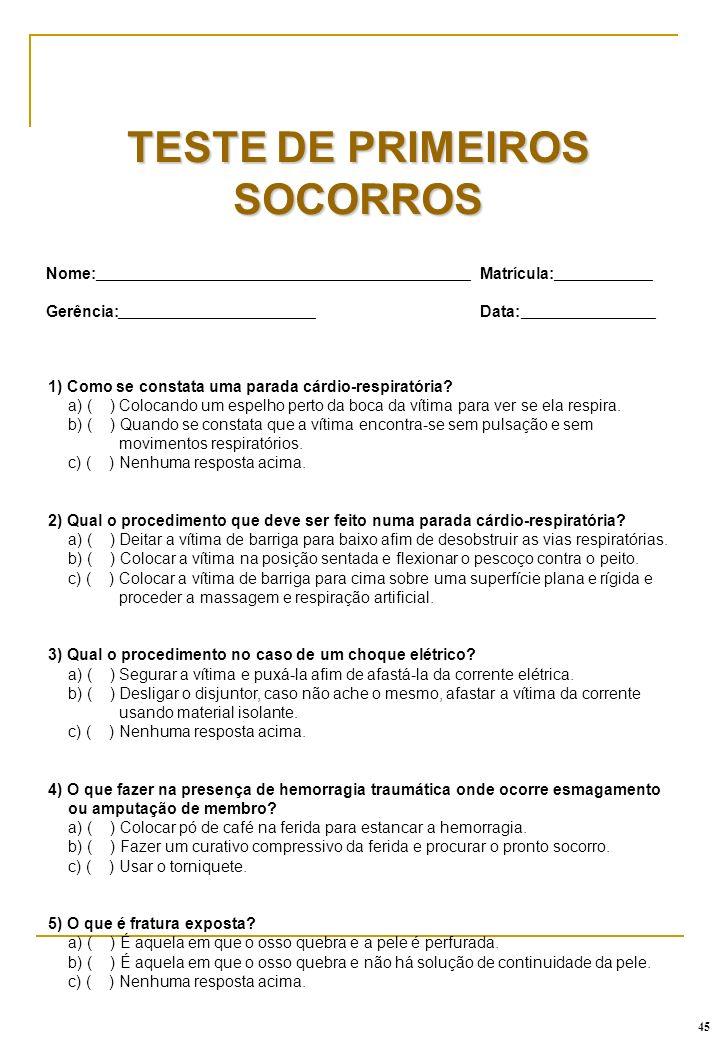 TESTE DE PRIMEIROS SOCORROS