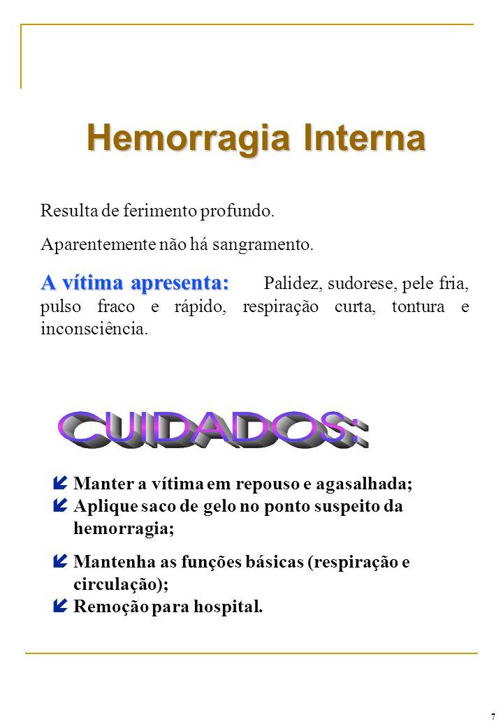 Hemorragia InternaResulta de ferimento profundo. Aparentemente não há sangramento.