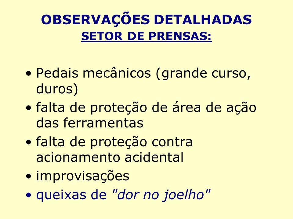 OBSERVAÇÕES DETALHADAS SETOR DE PRENSAS: