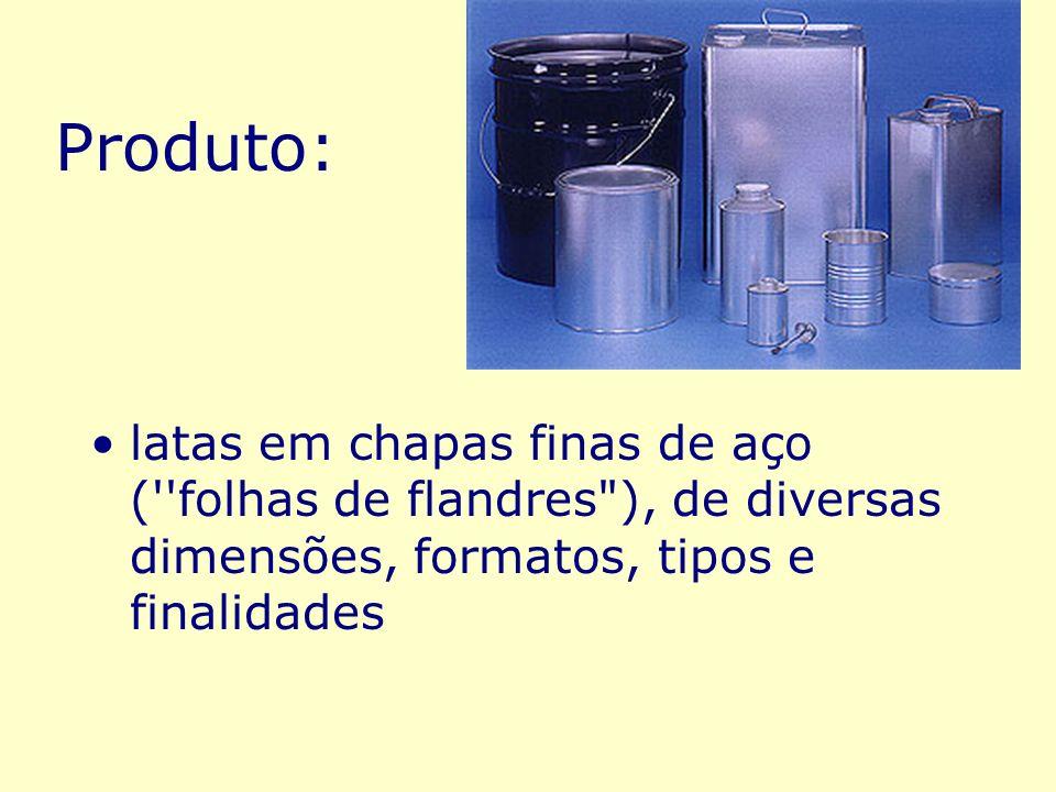 Produto:latas em chapas finas de aço ( folhas de flandres ), de diversas dimensões, formatos, tipos e finalidades.