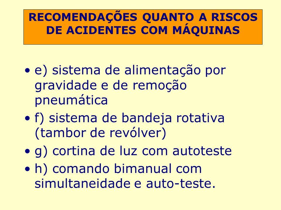 RECOMENDAÇÕES QUANTO A RISCOS DE ACIDENTES COM MÁQUINAS