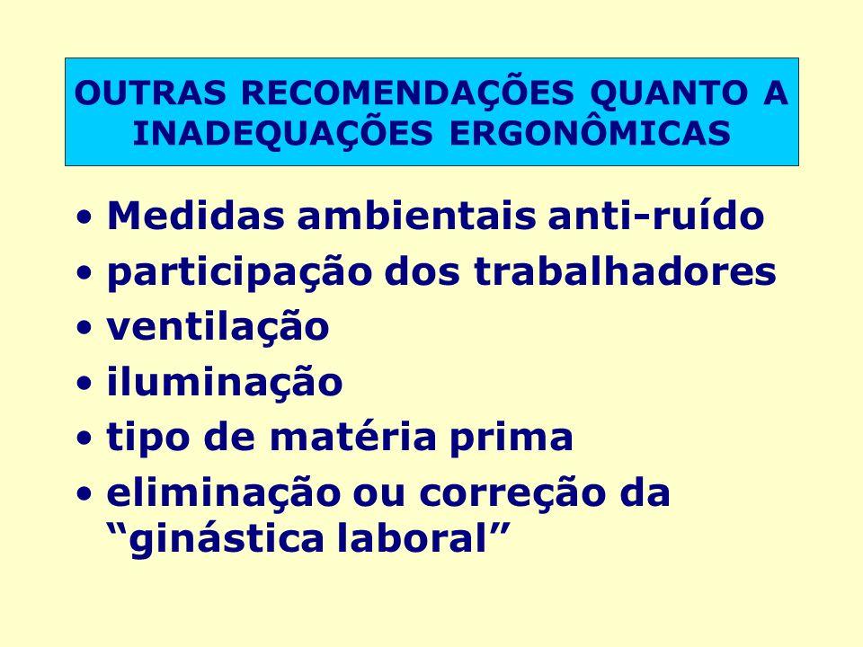 OUTRAS RECOMENDAÇÕES QUANTO A INADEQUAÇÕES ERGONÔMICAS