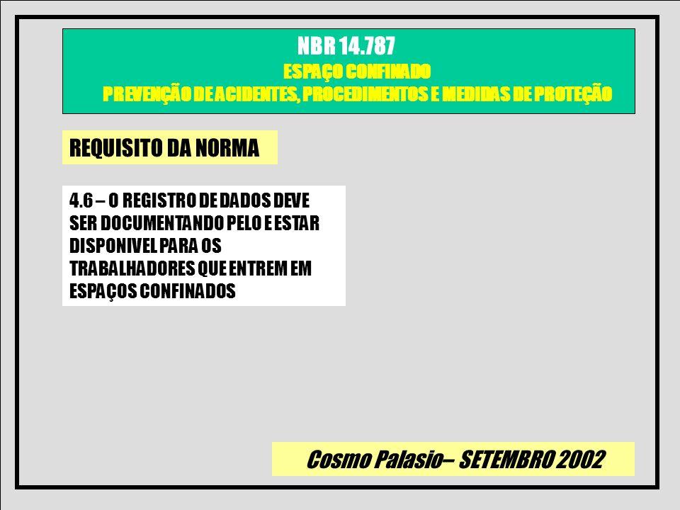 REQUISITO DA NORMA4.6 – O REGISTRO DE DADOS DEVE SER DOCUMENTANDO PELO E ESTAR DISPONIVEL PARA OS TRABALHADORES QUE ENTREM EM ESPAÇOS CONFINADOS.