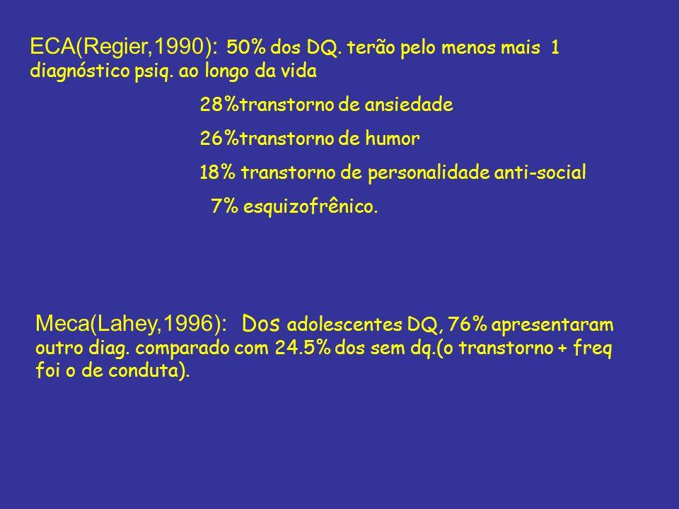 ECA(Regier,1990): 50% dos DQ. terão pelo menos mais 1 diagnóstico psiq