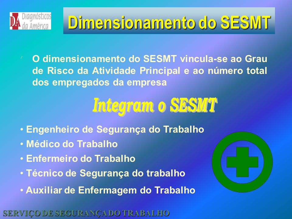 Dimensionamento do SESMT