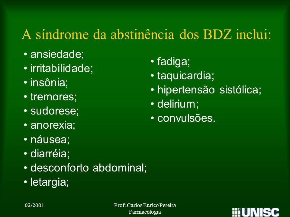 A síndrome da abstinência dos BDZ inclui: