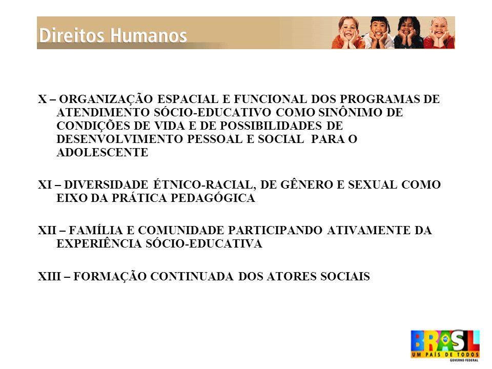 X – ORGANIZAÇÃO ESPACIAL E FUNCIONAL DOS PROGRAMAS DE ATENDIMENTO SÓCIO-EDUCATIVO COMO SINÔNIMO DE CONDIÇÕES DE VIDA E DE POSSIBILIDADES DE DESENVOLVIMENTO PESSOAL E SOCIAL PARA O ADOLESCENTE