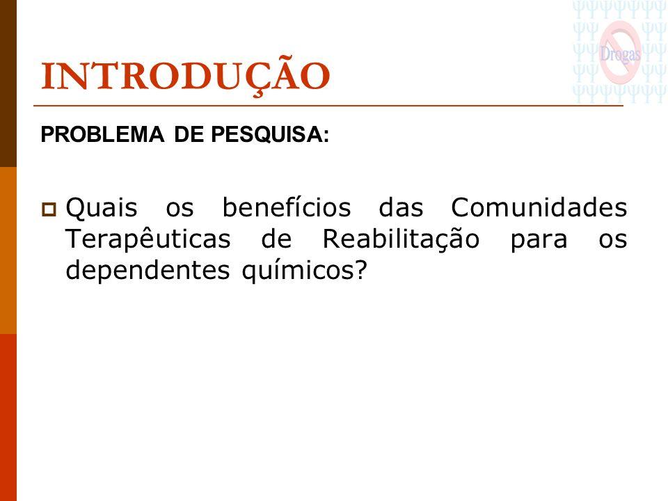 INTRODUÇÃO PROBLEMA DE PESQUISA: Quais os benefícios das Comunidades Terapêuticas de Reabilitação para os dependentes químicos