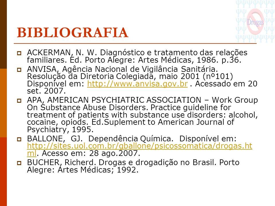 BIBLIOGRAFIA ACKERMAN, N. W. Diagnóstico e tratamento das relações familiares. Ed. Porto Alegre: Artes Médicas, 1986. p.36.