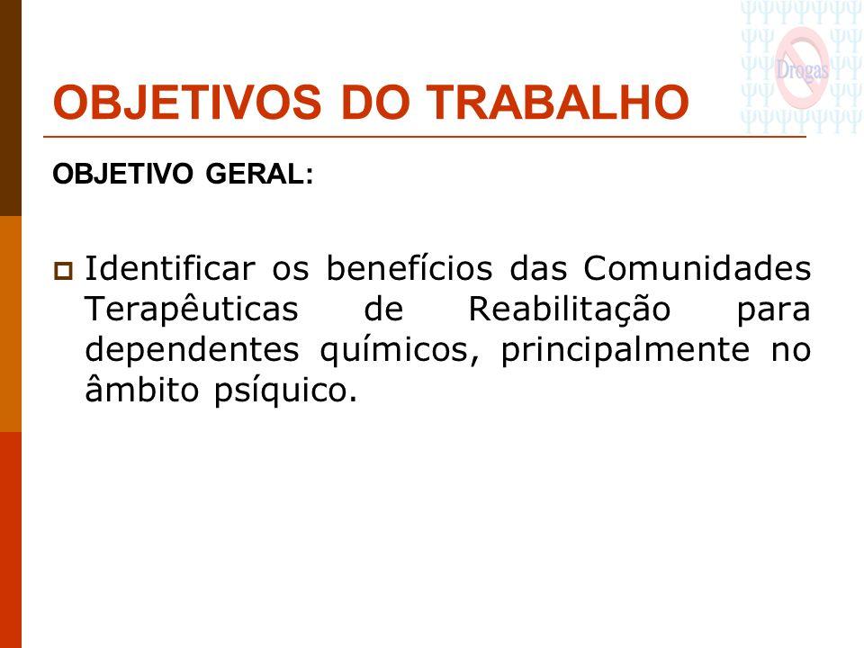 OBJETIVOS DO TRABALHO OBJETIVO GERAL: