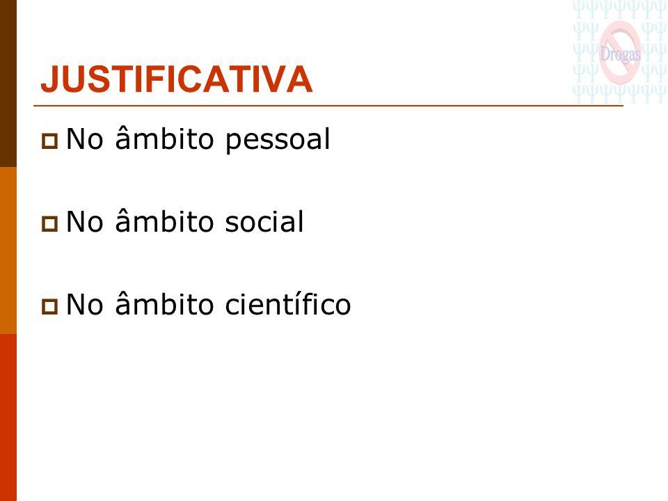 JUSTIFICATIVA No âmbito pessoal No âmbito social No âmbito científico