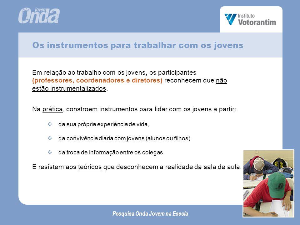 Os instrumentos para trabalhar com os jovens