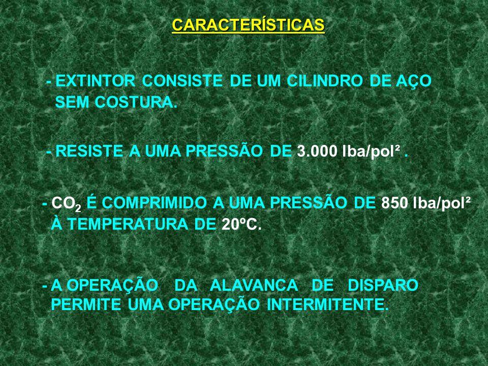 CARACTERÍSTICAS- EXTINTOR CONSISTE DE UM CILINDRO DE AÇO. SEM COSTURA. - RESISTE A UMA PRESSÃO DE 3.000 lba/pol² .