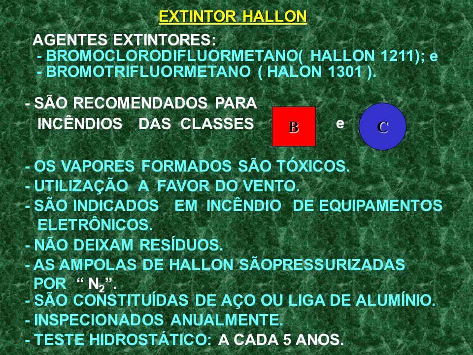 EXTINTOR HALLON AGENTES EXTINTORES: - BROMOCLORODIFLUORMETANO( HALLON 1211); e. - BROMOTRIFLUORMETANO ( HALON 1301 ).