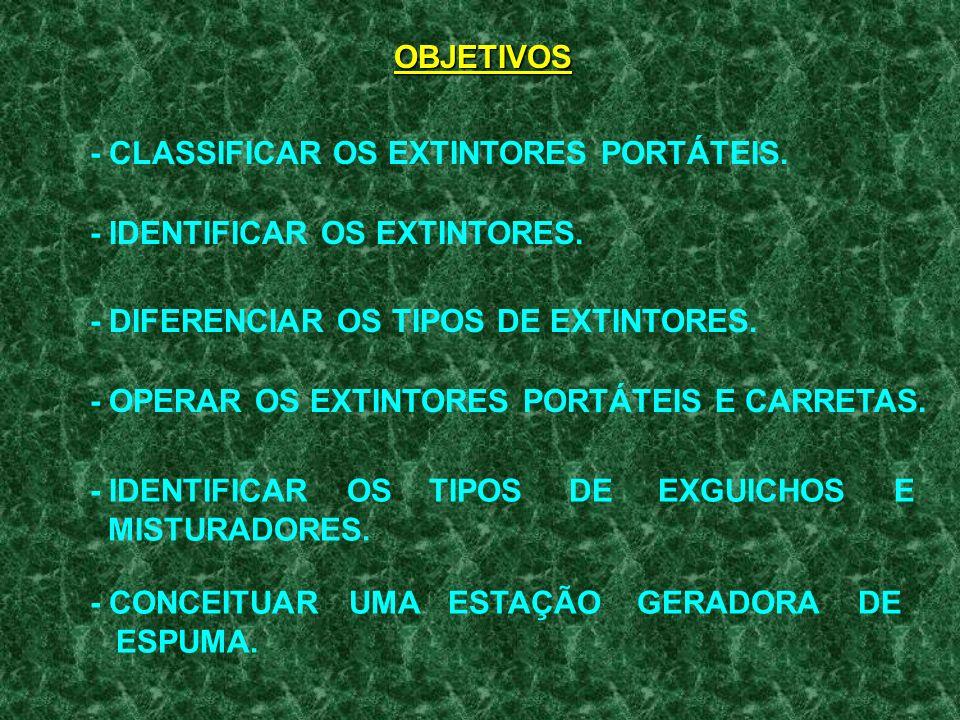 OBJETIVOS - CLASSIFICAR OS EXTINTORES PORTÁTEIS. - IDENTIFICAR OS EXTINTORES. - DIFERENCIAR OS TIPOS DE EXTINTORES.