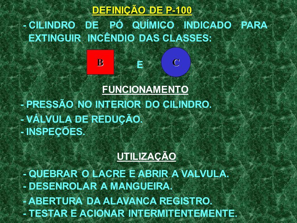 DEFINIÇÃO DE P-100 - CILINDRO DE PÓ QUÍMICO INDICADO PARA. EXTINGUIR INCÊNDIO DAS CLASSES: