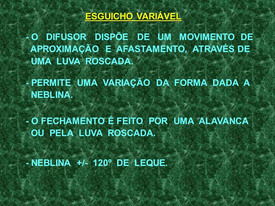 ESGUICHO VARIÁVEL - O DIFUSOR DISPÕE DE UM MOVIMENTO DE. APROXIMAÇÃO E AFASTAMENTO, ATRAVÉS DE.