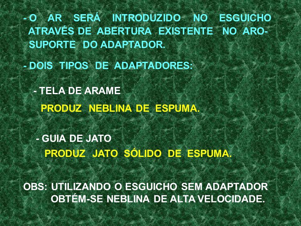 - O AR SERÁ INTRODUZIDO NO ESGUICHO