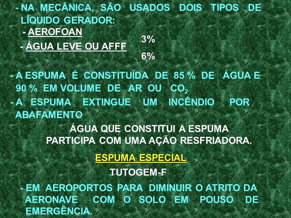 ÁGUA QUE CONSTITUI A ESPUMA PARTICIPA COM UMA AÇÃO RESFRIADORA.