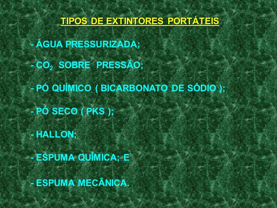 TIPOS DE EXTINTORES PORTÁTEIS