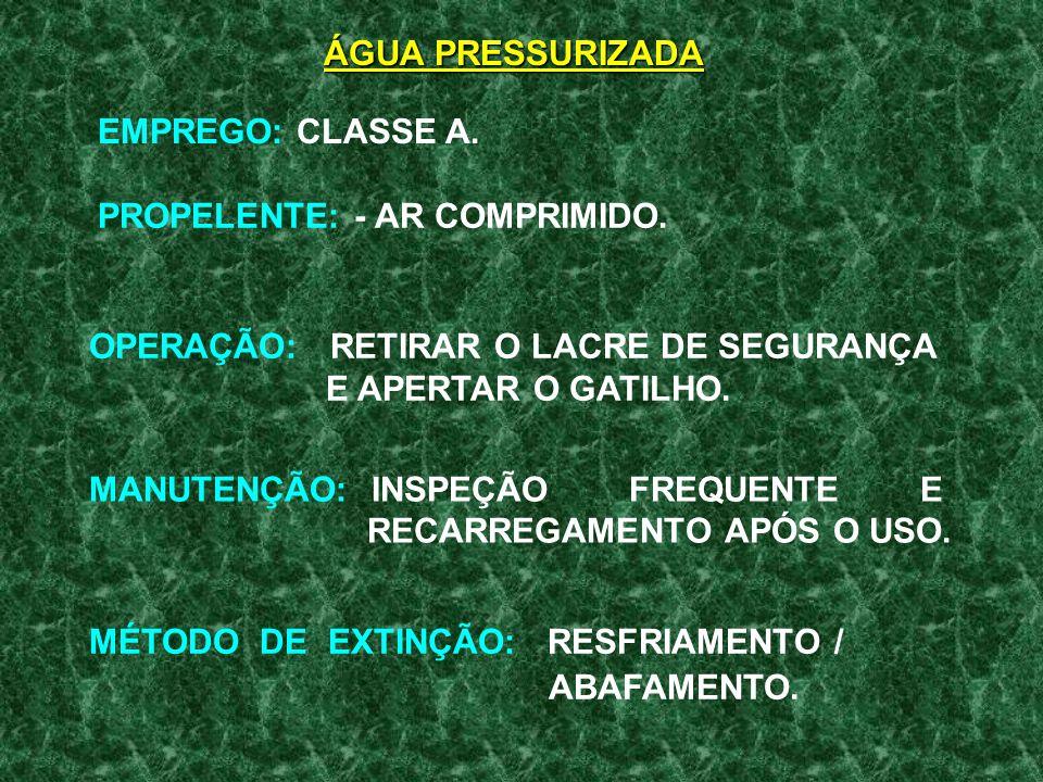 ÁGUA PRESSURIZADAEMPREGO: CLASSE A. PROPELENTE: - AR COMPRIMIDO. OPERAÇÃO: RETIRAR O LACRE DE SEGURANÇA E APERTAR O GATILHO.