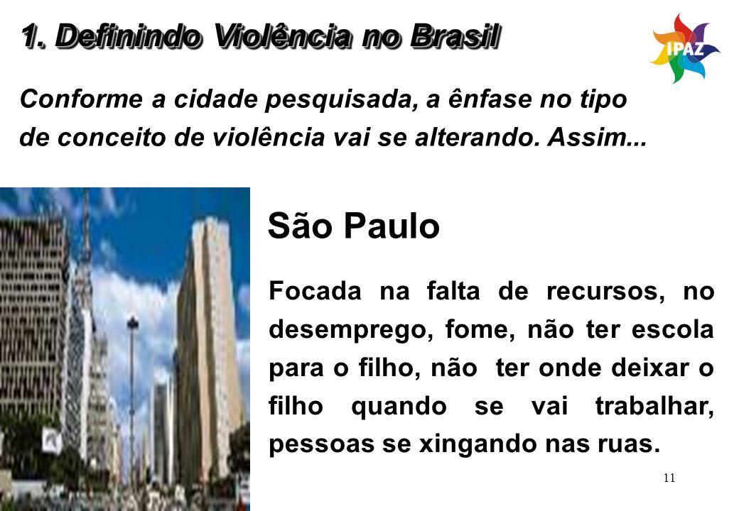 São Paulo 1. Definindo Violência no Brasil