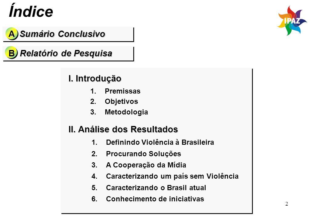 Índice A Sumário Conclusivo B Relatório de Pesquisa I. Introdução