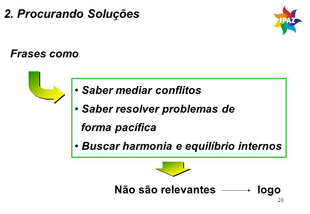 2. Procurando Soluções Frases como Saber mediar conflitos