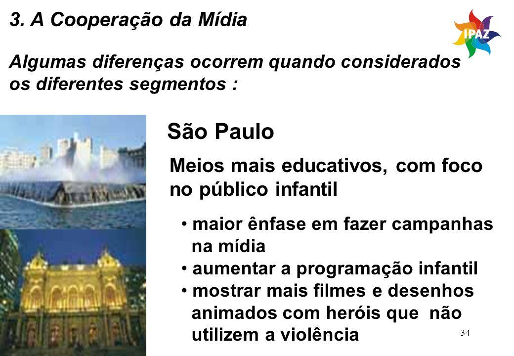 São Paulo 3. A Cooperação da Mídia Meios mais educativos, com foco