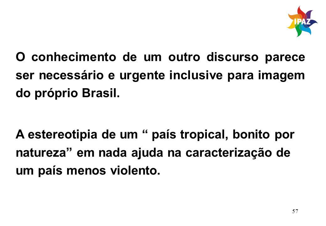 O conhecimento de um outro discurso parece ser necessário e urgente inclusive para imagem do próprio Brasil.