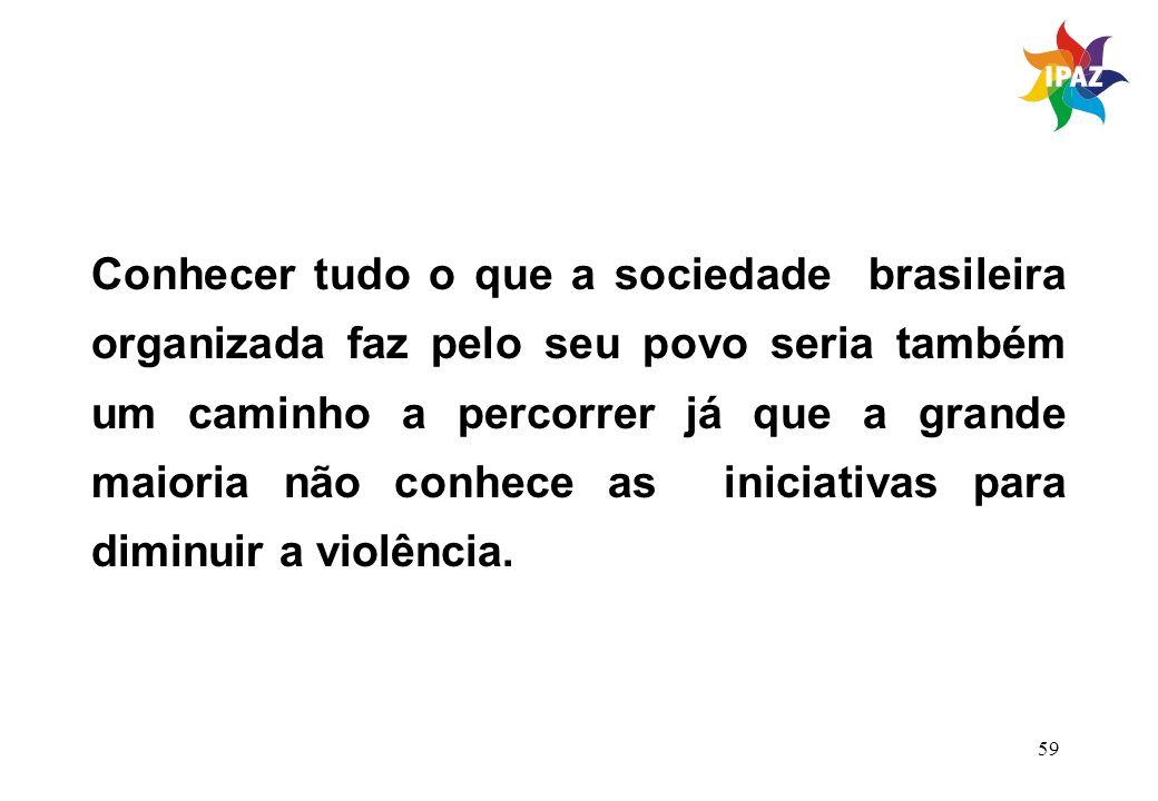 Conhecer tudo o que a sociedade brasileira organizada faz pelo seu povo seria também um caminho a percorrer já que a grande maioria não conhece as iniciativas para diminuir a violência.