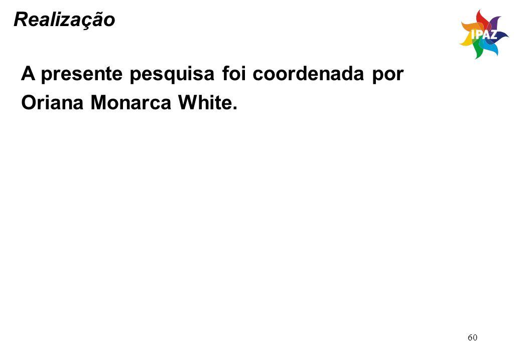 Realização A presente pesquisa foi coordenada por Oriana Monarca White.