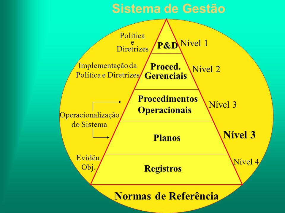 Sistema de Gestão Nível 3 Normas de Referência Nível 1 P&D Proced.