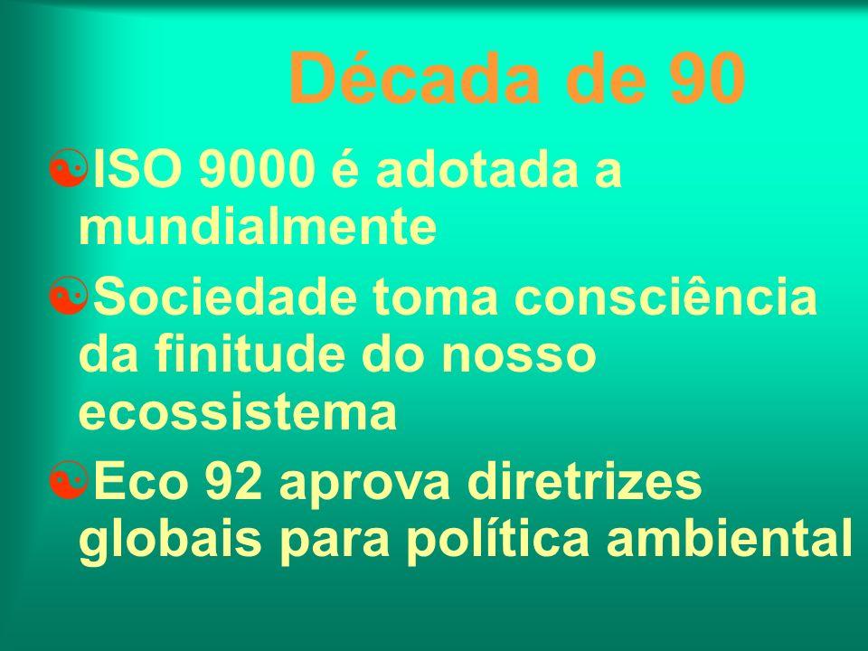 Década de 90 ISO 9000 é adotada a mundialmente