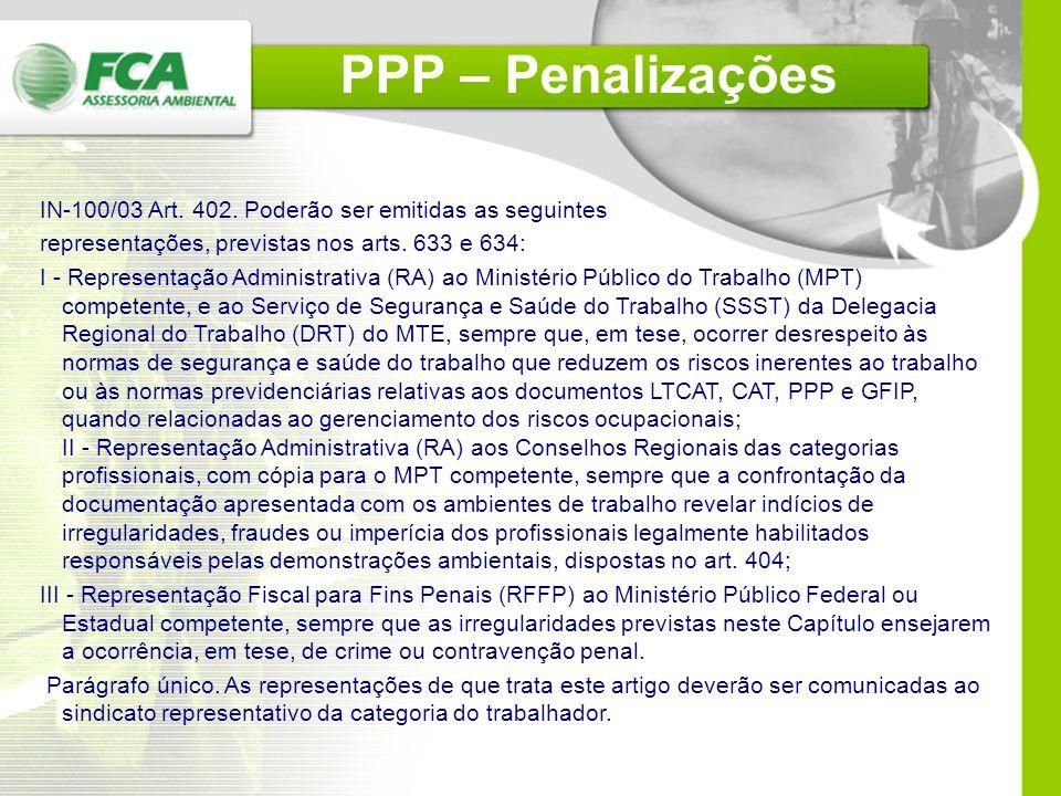 PPP – Penalizações IN-100/03 Art. 402. Poderão ser emitidas as seguintes. representações, previstas nos arts. 633 e 634: