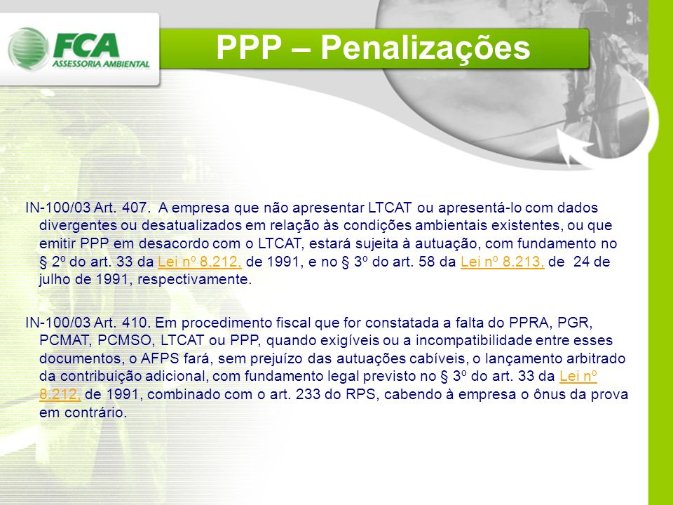PPP – Penalizações
