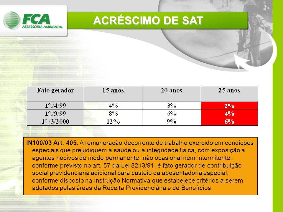 ACRÉSCIMO DE SAT