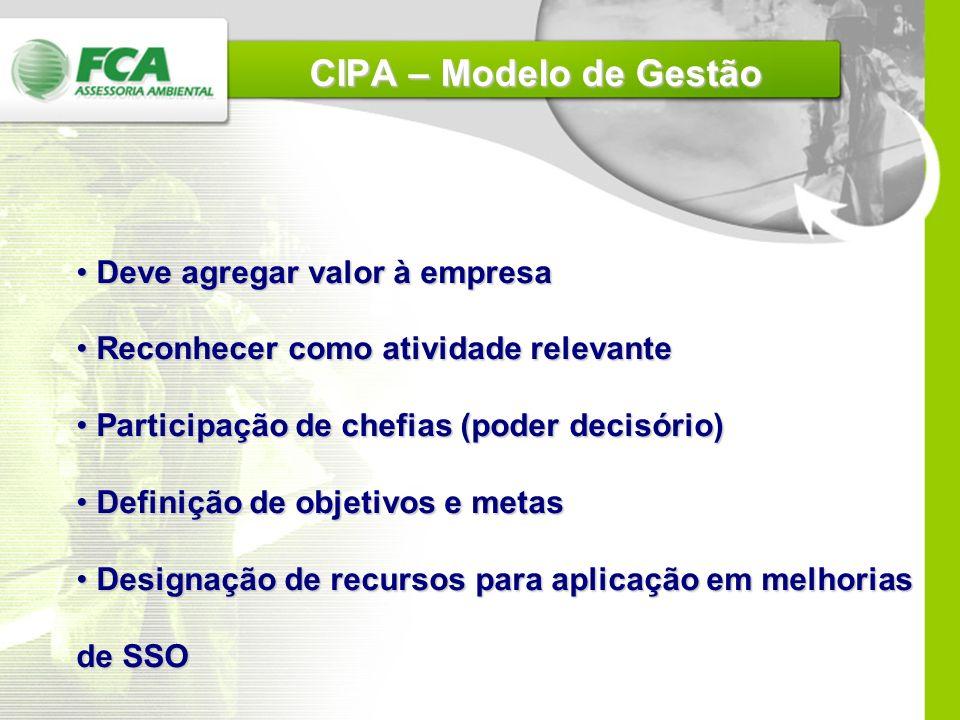 CIPA – Modelo de Gestão Deve agregar valor à empresa