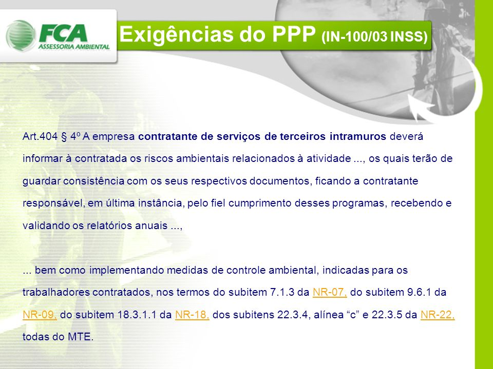 Exigências do PPP (IN-100/03 INSS)