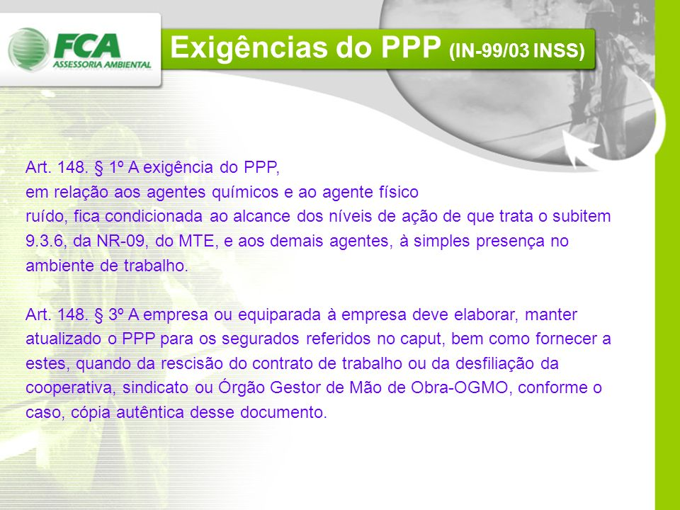 Exigências do PPP (IN-99/03 INSS)