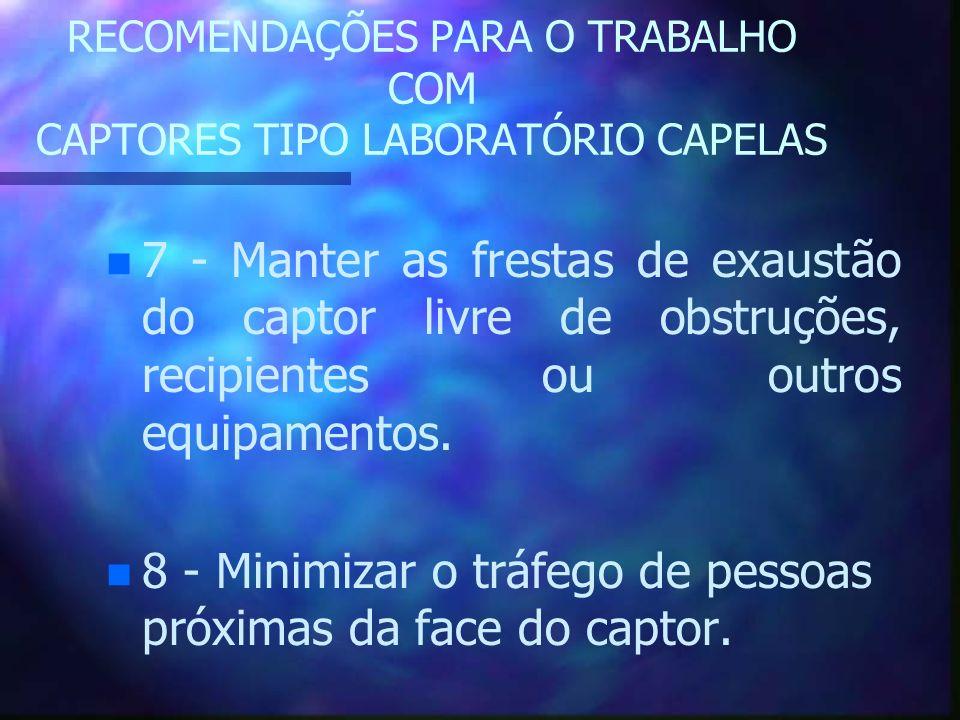 RECOMENDAÇÕES PARA O TRABALHO COM CAPTORES TIPO LABORATÓRIO CAPELAS