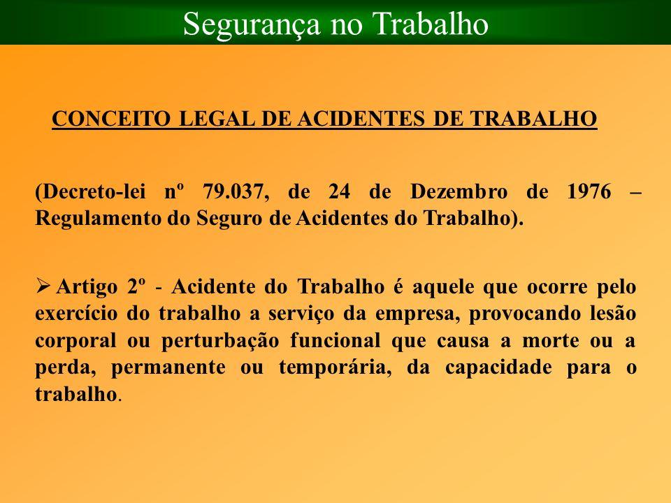 Segurança no Trabalho CONCEITO LEGAL DE ACIDENTES DE TRABALHO