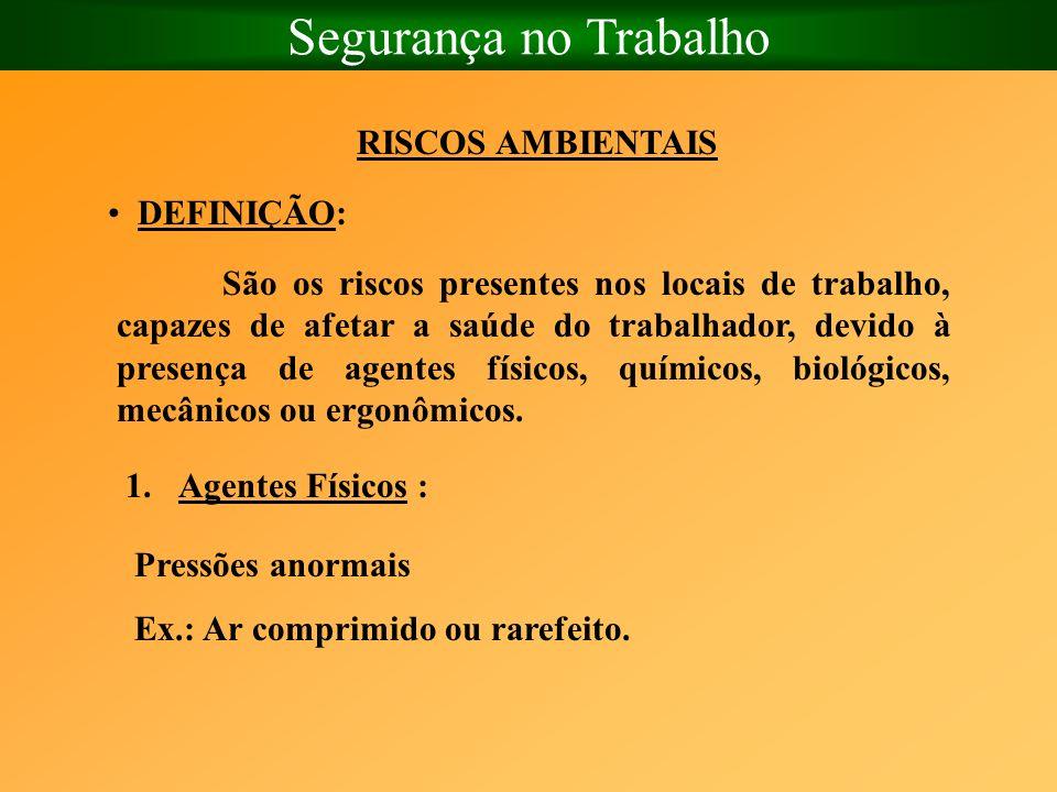 Segurança no Trabalho RISCOS AMBIENTAIS DEFINIÇÃO: