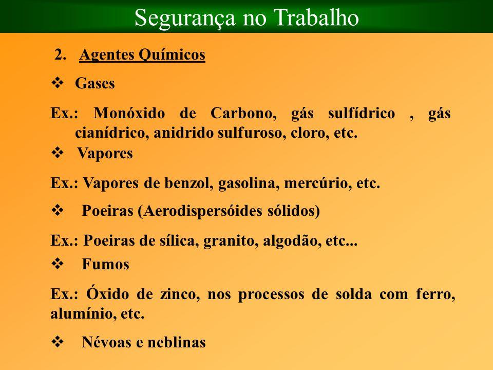 Segurança no Trabalho Agentes Químicos Gases
