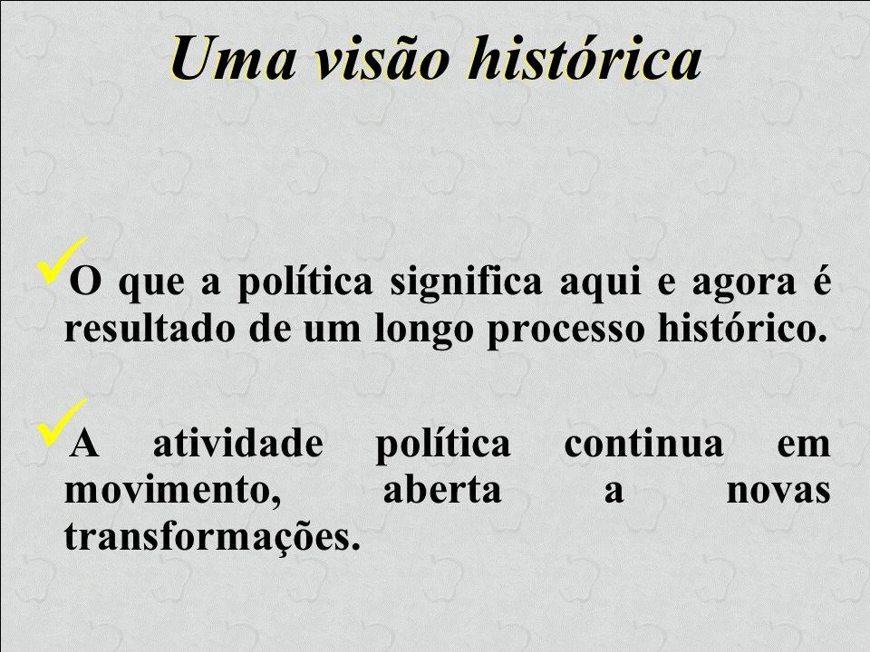 Uma visão históricaO que a política significa aqui e agora é resultado de um longo processo histórico.