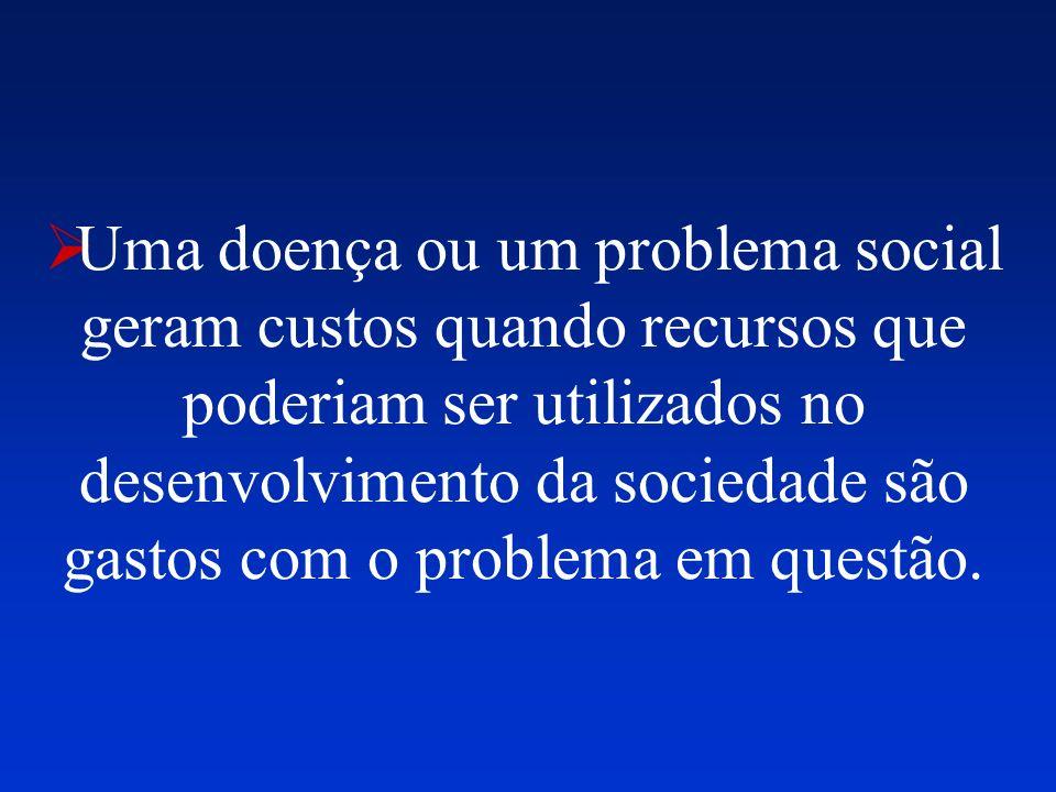 Uma doença ou um problema social geram custos quando recursos que poderiam ser utilizados no desenvolvimento da sociedade são gastos com o problema em questão.